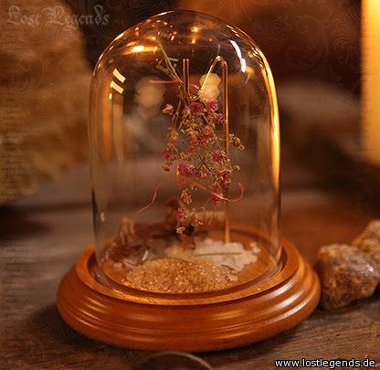 Glasglocke mit Holzsockel